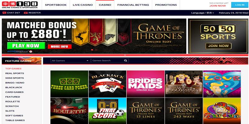 138 casino on line